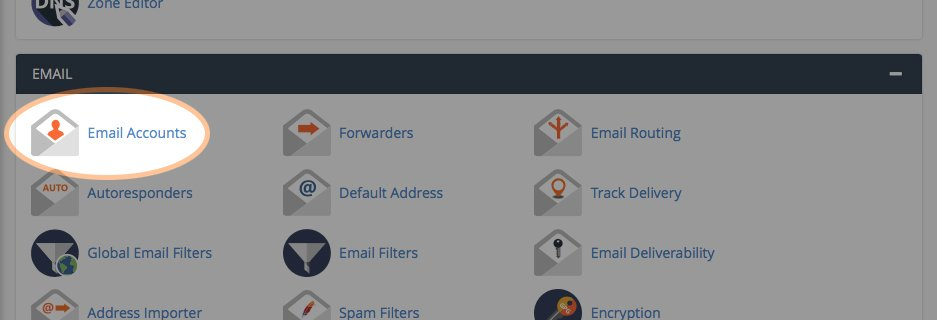 Clicking the Email Accounts button to create an email address in cPanel