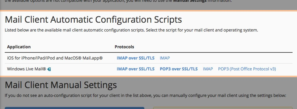 The Mail Client Automatic Configuration Scripts panel