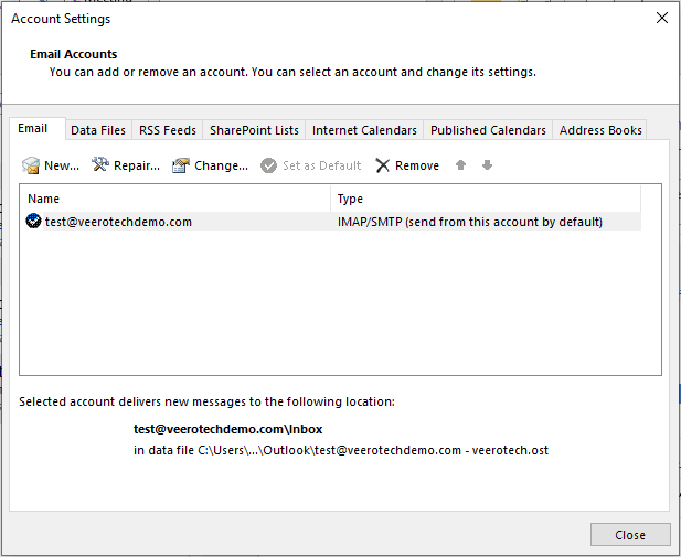 Configuring an existing mail account.