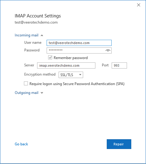 IMAP account settings for incoming mail.