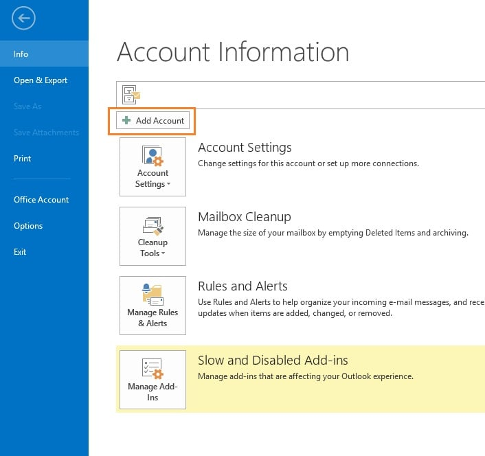 add account outlook cpanel email