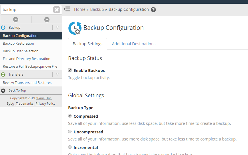 WHM Backup - Enable Backups