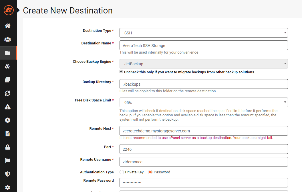 JetBackup Destination Settings