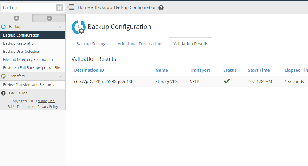 WHM SFTP Backup Destination