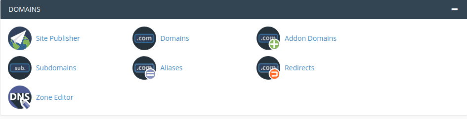 cPanel domains panel