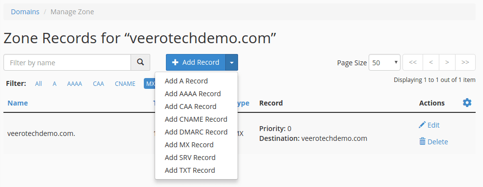 cpanel zone editor add mx record