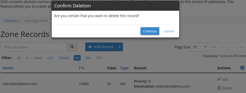 cpanel zone editor remove default mx record
