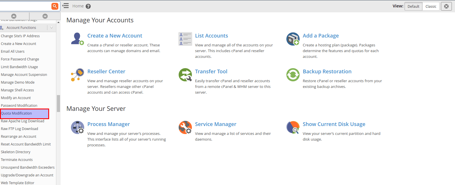 How to increase disk space in cpanel/WHM ?