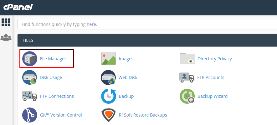 cPanel home page.