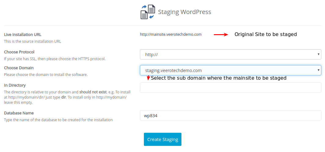 Staging a WordPress domain.