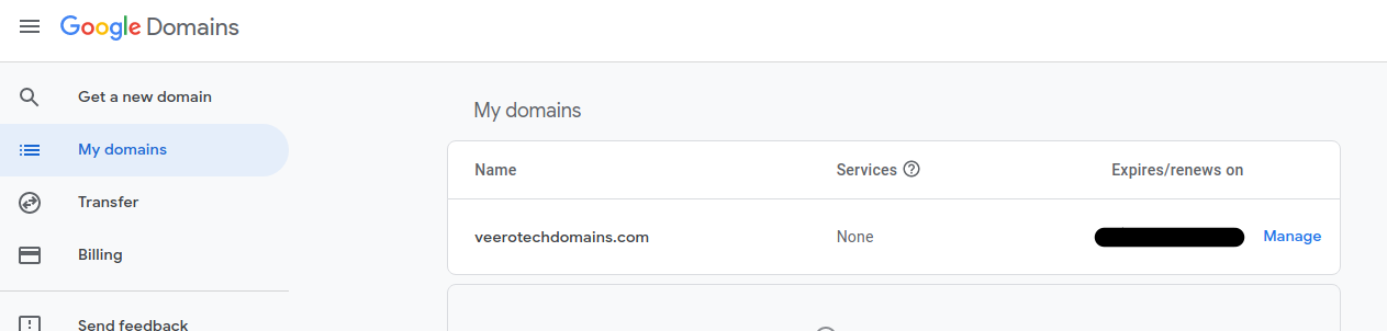 Google domains - dashboard view